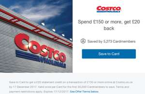 Spend £150 or more with @ Amex, get £20 back @ Costco ONLINE ONLY