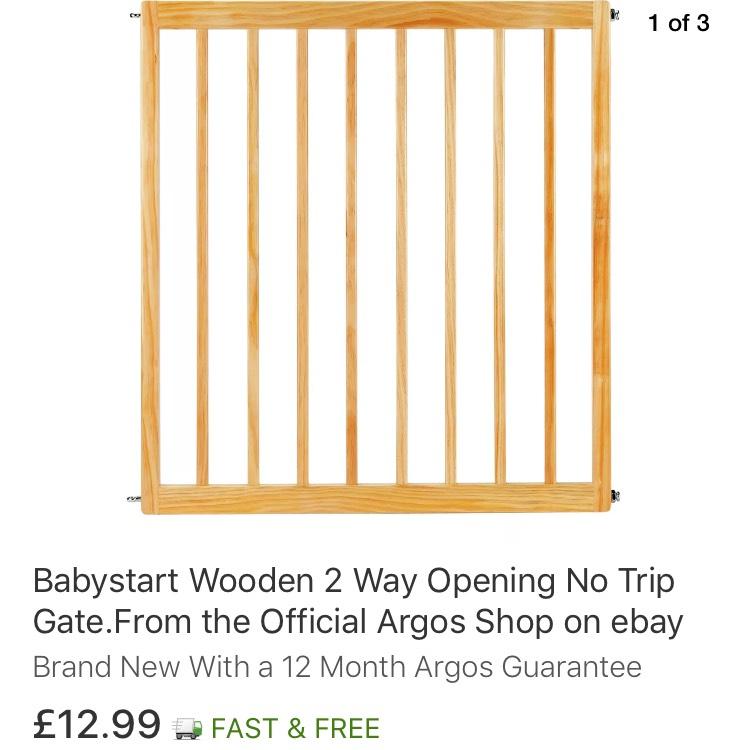 Babystart Wooden Stair Gate - £12.99 delivered at Ebay Argos Store