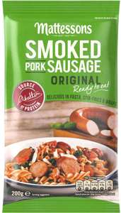 Mattessons Smoked Pork Sausage / Reduced Fat Smoked Pork Sausage / Garlic Smoked Pork Sausage / Smoked Pork Sausage Chorizo (200g) was £1.65 now £1.00 @ Morrisons