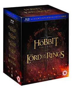 Middle Earth 6 Film Collection Extended Edition. The Hobbit Trilogy The Lord Of The Rings Trilogy Blu Ray. Amazon £49.99