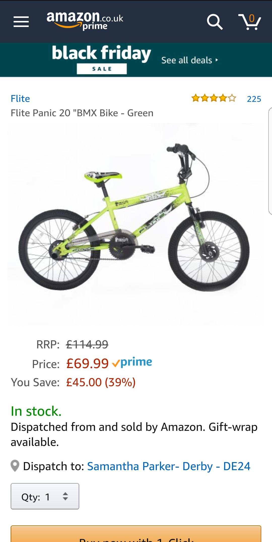 """20"""" Green BMX £69.99 @ Amazon"""