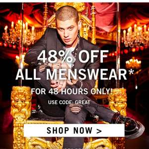 48% off all menswear on boohooman for 48hrs only