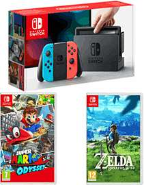 Nintendo Switch - Neon Red/Neon Blue + Super Mario Odyssey + The Legend of Zelda - Breath of the Wild £349.99 @ Game