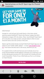 Bt sport app £1 for 6 months then £5 with Plusnet