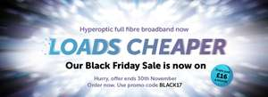 30Mb Fibre Broadband for £16pm, 150Mb for £24pm and 1Gb for £38pm @ Hyperoptic ** No referral offers / requests pls** Ends midnight