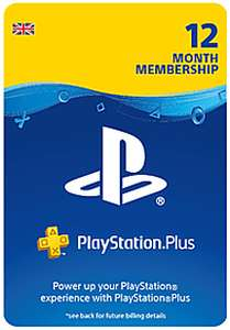 PlayStation Plus 12 Month Membership (PS4) £37.49 @ Game