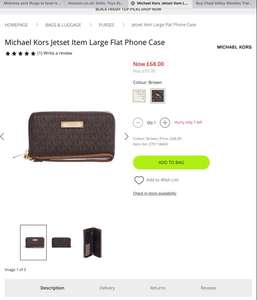 Michael Kors Jetset Item Large Flat Phone Case and purse  £68 @ HoF
