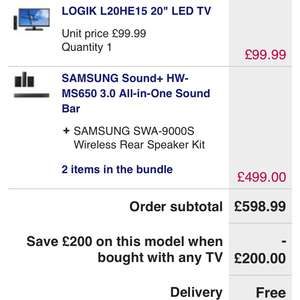 "Logik 20"" tv + Samsung sound bar bundle for £298.99 at Currys"