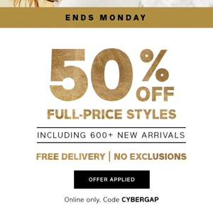 GAP Cyber Monday 50% Full Price Items + Free Delivery