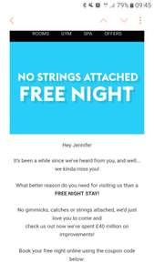 Village Hotel offering free Friday or Sunday night stay - email invite