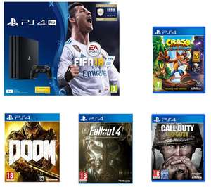 PS4 Pro with 5 game bundle. Fifa 18, COD WWII, Crash Insane, Doom, Fallout 4 - £339.99 at PC World