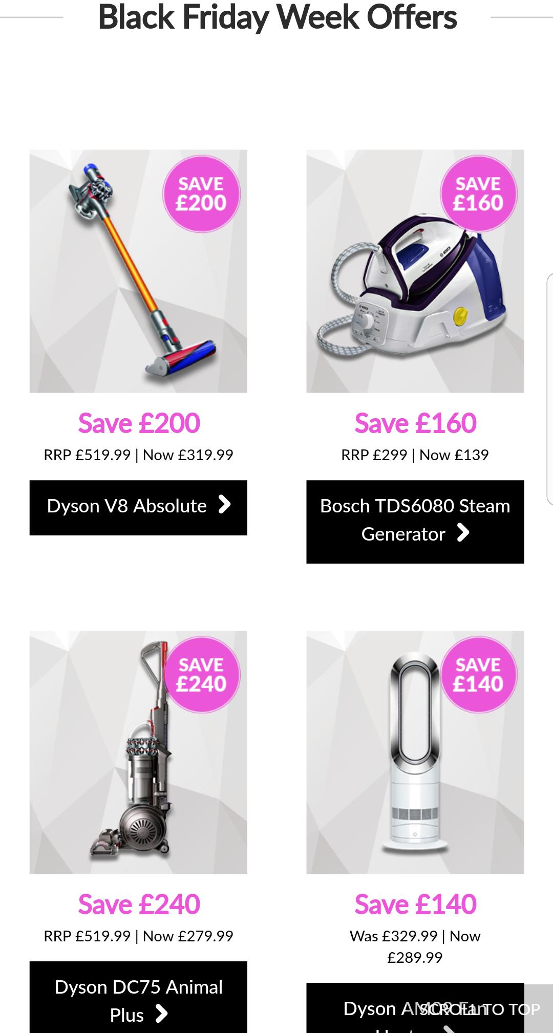 Dyson v8 absolute cordless vacuum cleaner - LEEKES - £319.99 @ Leekes