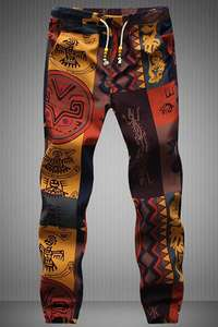 UTTERLY HIDEOUS Aztec print jogging bottoms, 'for men'. Was £20.17 apparently, now £7.69 with code @ Gamiss