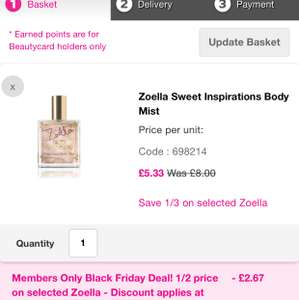 Zoella Sweet Inspiration Body Mist £2.67 (Beauty card members) @ Superdrug - Free order & collect
