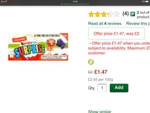 3 kinder eggs £1.47 @ Morrisons