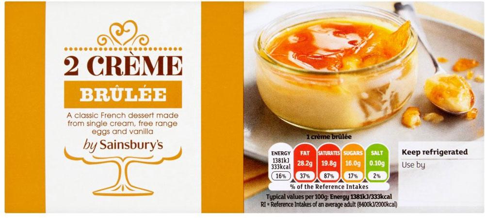 Sainsbury's Vanilla Crème Brûlée (2 x 100g) was £1.75 now £1.00 @ Sainsbury's