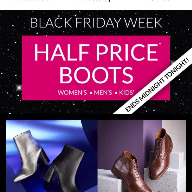 Debenhams half price boots women, men, kids Black Friday deal ends midnight