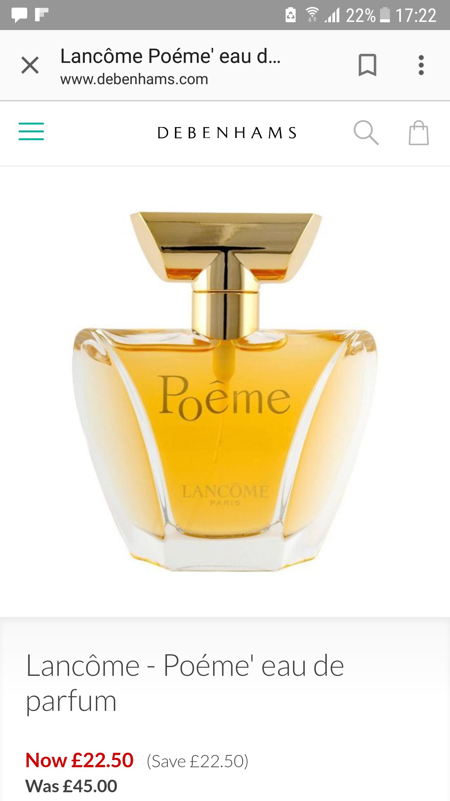 Poeme eau de parfum Lancome 30ml £22.50 @ Debenhams - Free c&c