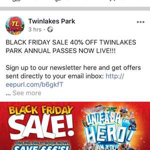 Annual Pass 40% off £31.95 @ Twin lakes