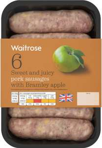 Waitrose 6 British Pork & Apple Sausages (400g) was £3.29 now Buy one and add 1 free + you can Mix and Match @ Ocado