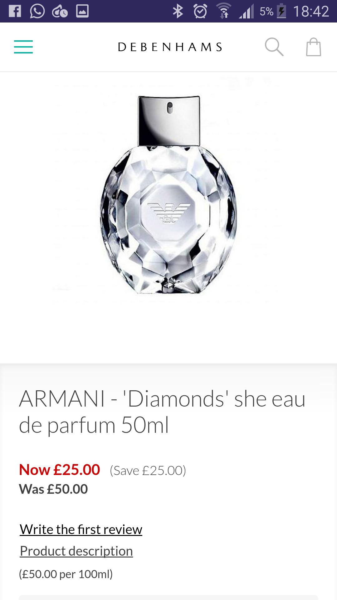 ARMANI - 'Diamonds' she eau de parfum 50ml £25 @ Debenhams - Free c&c