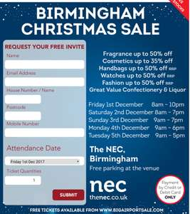 Birmingham World Duty Free Airport Sale @ NEC from 1st-5th December 2017