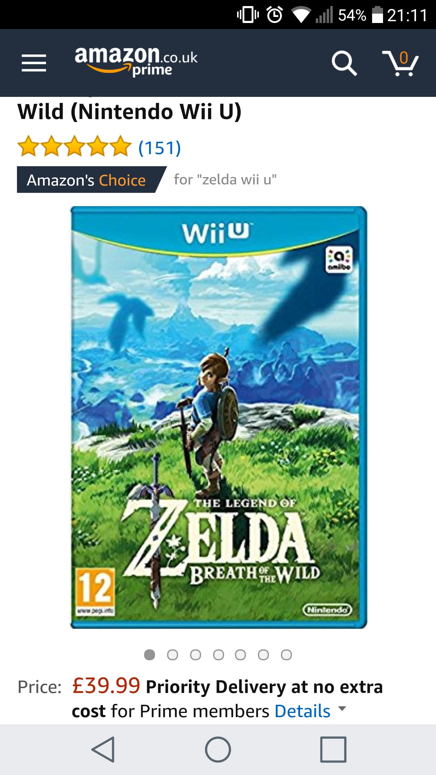 Zelda Breath of the Wild Wii U Amazon 39.99