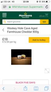800g - Wookey Hole Cave Aged Cheddar £10 @ Morrisons