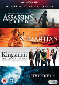 4k 4 film collection inc Martian, assassins creed, Kingsman 1 and Prometheus from zavvi £29.99