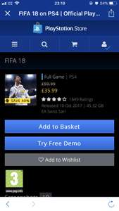 FIFA 18 CHEAPEST PRICE - PSN STORE £35.99