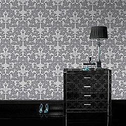 Laurence Llewelyn-Bowen Paradise Damask Grey/White metallic wallpaper £5 at Tesco