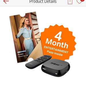 NOW TV Box with 4 months Sky Entertainment pass £19.99 Argos