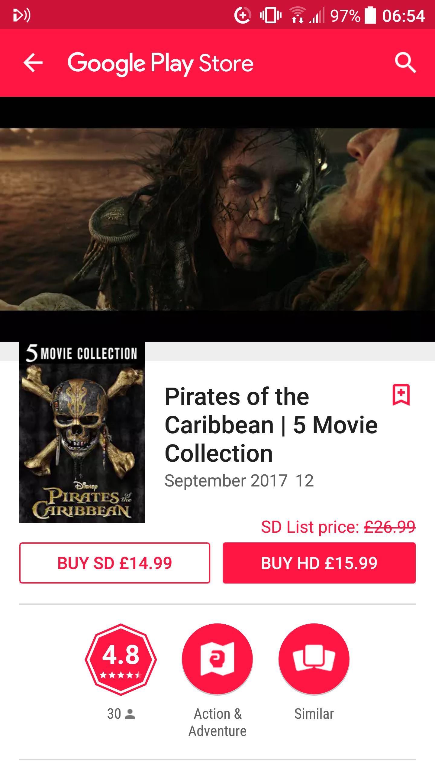 Pirates Of The Caribbean 5 movie boxset HD £15.99 on Google Play