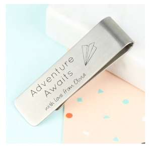 "Personalised Money Clip ""Adventure Awaits."" £3.60 delivered from Lisa Angel"