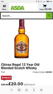 Chivas Regal 70cl down to £20 at Asda
