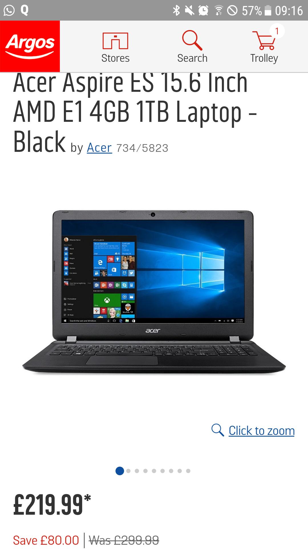 Acer Aspire ES 15.6inch AMD E1 4GB 1TB £219.99 Argos