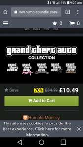 Grand Theft Auto collection £10.49 Humblebundle.com