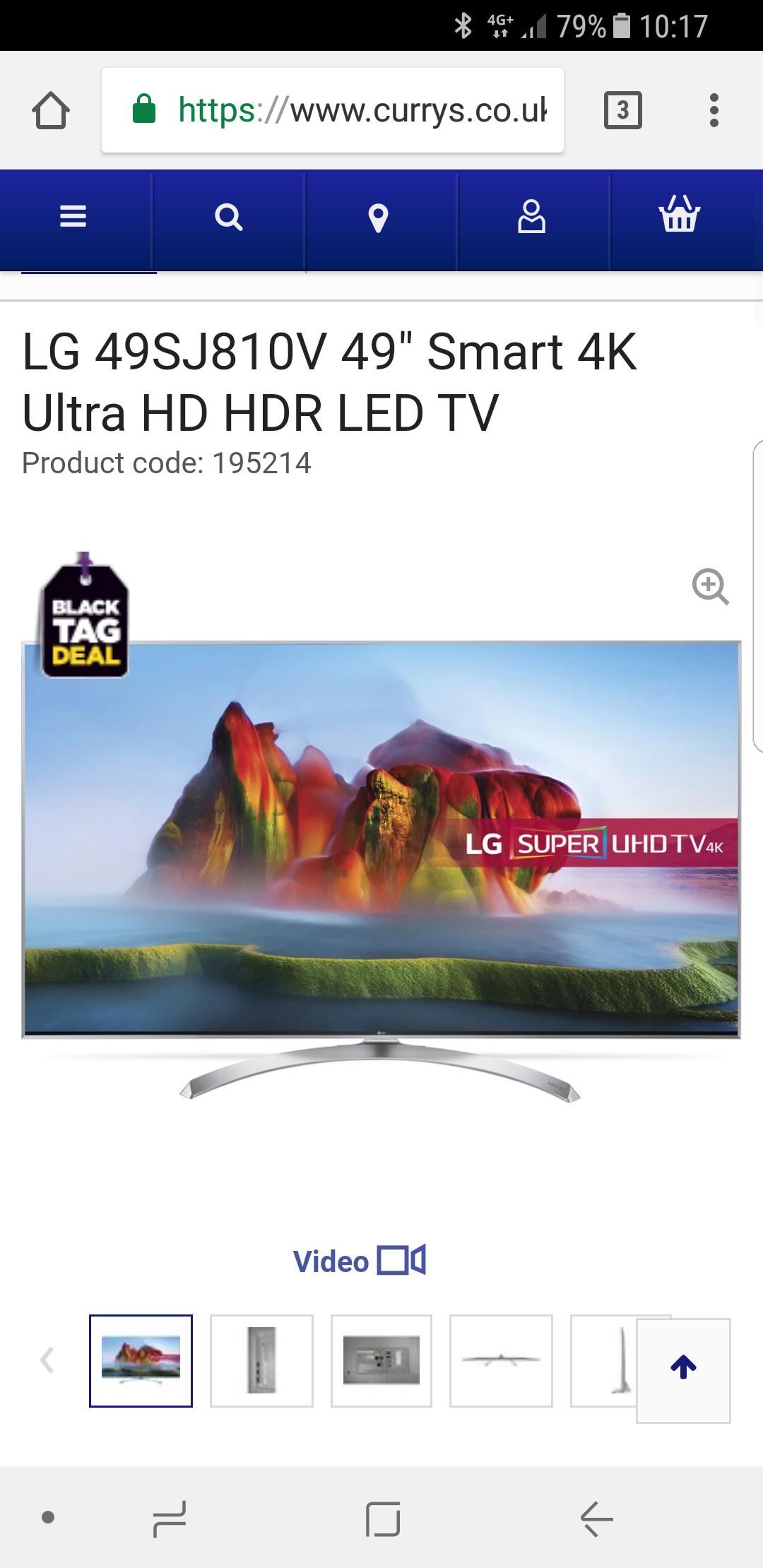 """LG 49SJ810V 49"""" Smart 4K Ultra HD HDR LED TV  £599 Currys"""