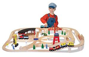 Melissa & Doug Deluxe Wooden Railway Train Set (130+ pcs) - £39.67 @ Amazon