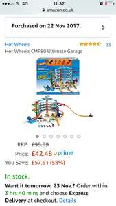 Hotwheels CMP80 ultimate garage - £42.48 @ Amazon ( prime only )