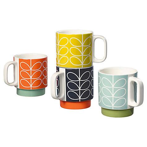 JOHN LEWIS Orla Kiely Raised Linear Stem Stacking Mugs, Set of 4, Multi, 330ml - £20