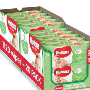 Huggies Baby Wipes 20 packs £10 @ Amazon (Prime or add £3.99)