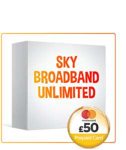 Sky basic unlimited broadband upto 17MBps 12m contract effective £8.00 from £18 a month