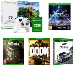 Xbox One S Minecraft + Battlefront ll + Fallout 4 +Doom + Forza Motorsport 7+Xbox Live Gold + Extra Xbox Wireless Controller at Currys for £250