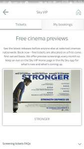 Free cinema previews - STRONGER  for  sky vip customers with membership