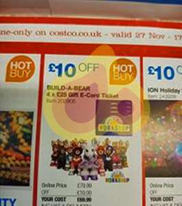 BUILD-A-BEAR 4 x £25 Gift E-Card Ticket £69.99 @ Costco from 27 November