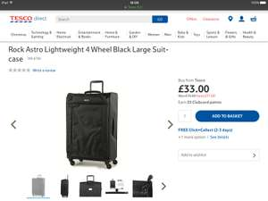 Rock Astro Lightweight 4 Wheel Black Large Suitcase Was £70 now £33 also cabin suitcase was £60 now £23 @ Tesco