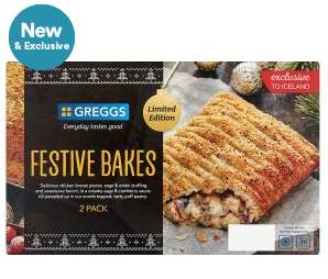 2 packs of 2 (so 4) Frozen Greggs Festive Bakes £3 Iceland