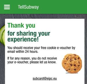 Free subway cookie (short questionnaire)