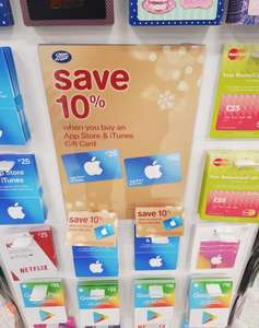 App Store & iTunes Gift Card £50 - reduced to £45 @ Boots instore (10% discount)